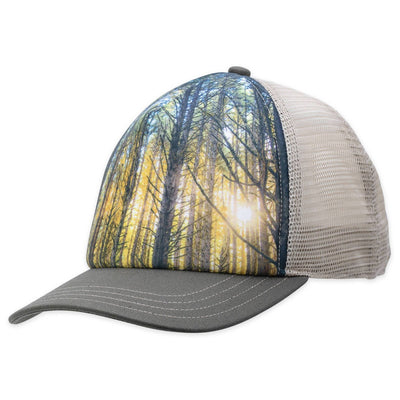 Men's Pistil Dusk Trucker Hat with sun shining through trees graphic on the front with Olive bill and mesh  on back along with adjustable closure