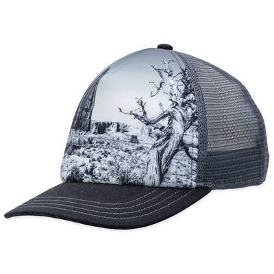 Men's Pistil Dusk Trucker Hat with Black and White graphic on the front with pewter mesh on back and adjustable closure