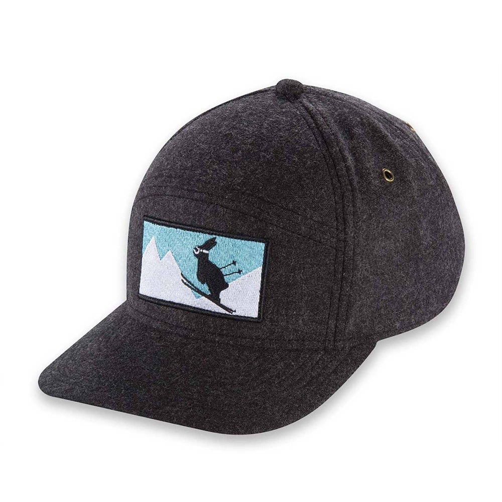 Women's Pistil Kicker Cap with ski bunny embroidery patch and adjustable closure in back in Charcoal