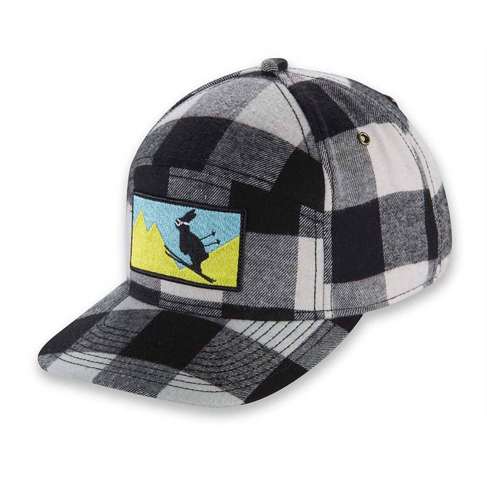 Women's Pistil Kicker Cap with ski bunny embroidery patch and adjustable closure in back in Ivory and Black Plaid