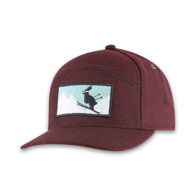 Women's Pistil Kicker Cap with ski bunny embroidery patch and adjustable closure in back in Raisin