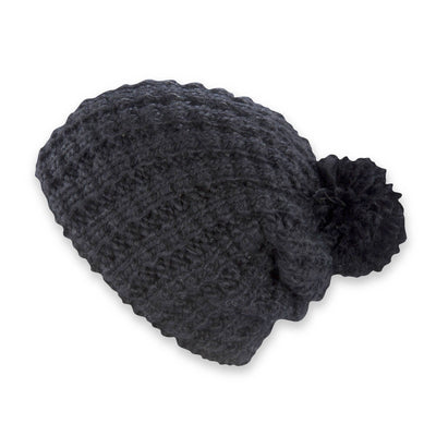 Women's Pistil Tito Chunky Waffle Knit Slouch Beanie with pom in black