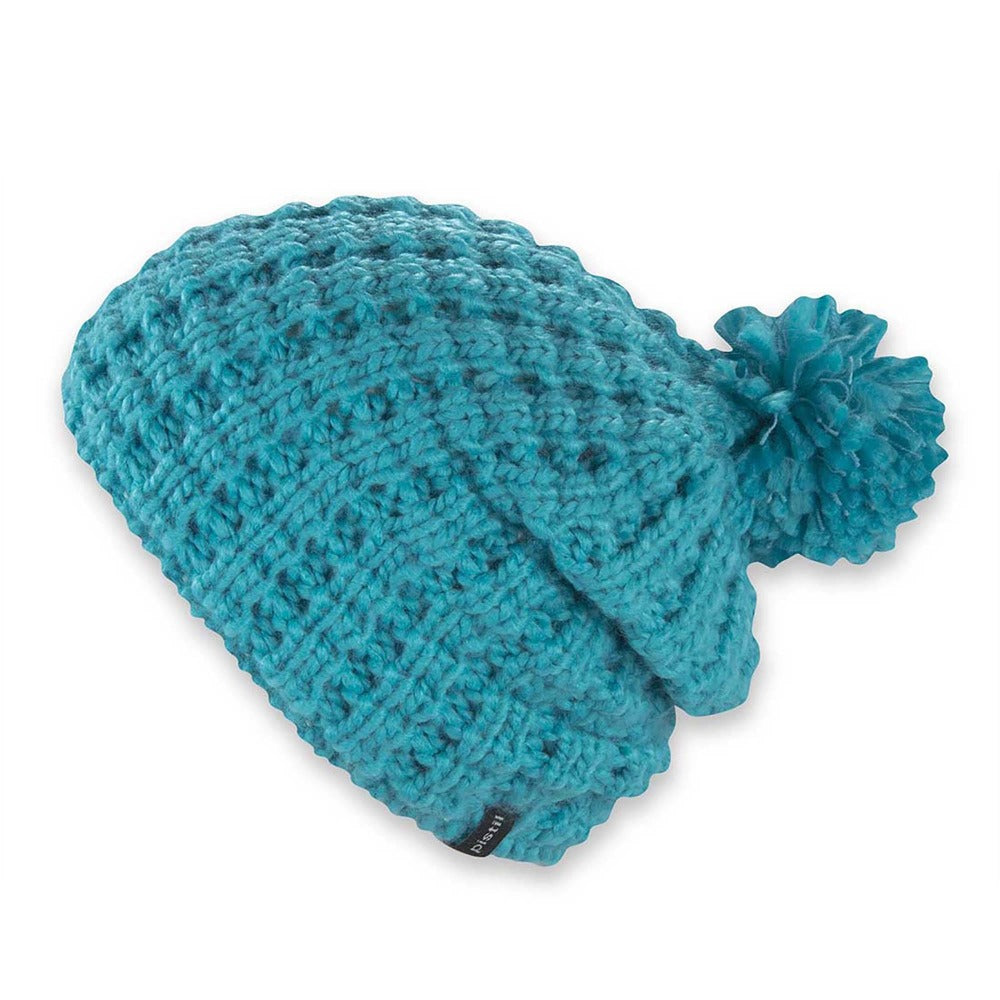 Women's Pistil Tito Chunky Waffle Knit Slouch Beanie with pom in blue