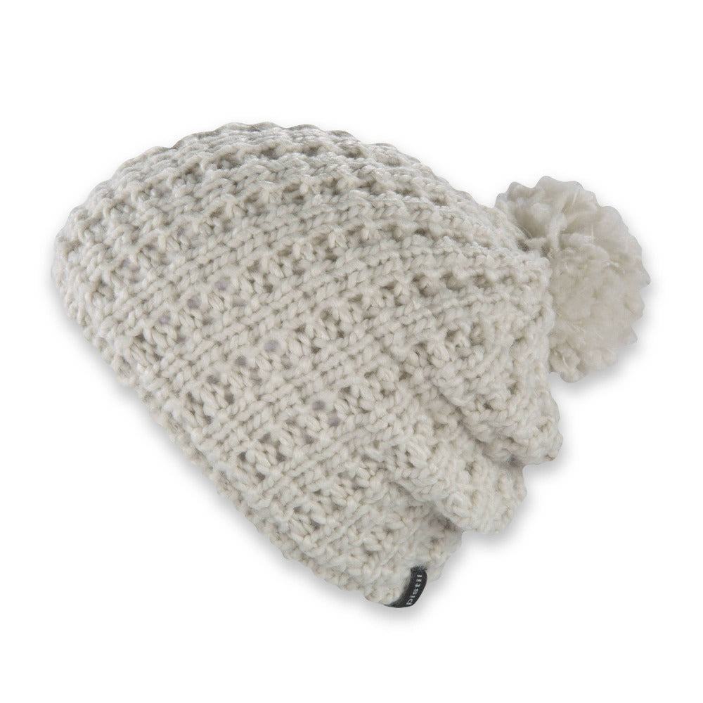 Women's Pistil Tito Chunky Waffle Knit Slouch Beanie with pom in ivory
