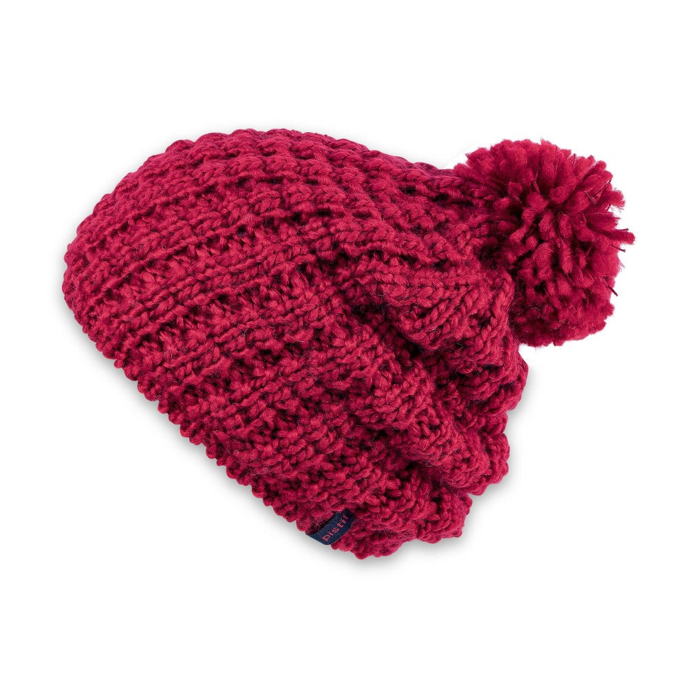 Women's Pistil Tito Chunky Waffle Knit Slouch Beanie with pom in red