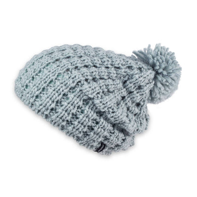 Women's Pistil Tito Chunky Waffle Knit Slouch Beanie with pom in sky