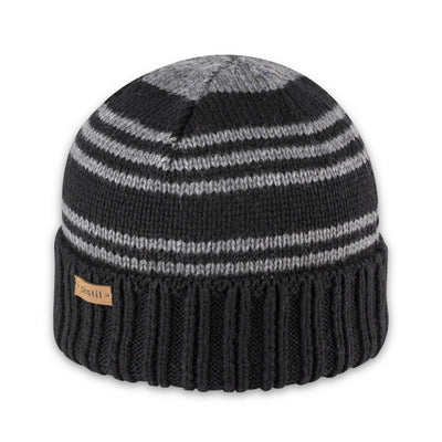 Men's Pistil Perch Knit Beanie with black band and grey stripes