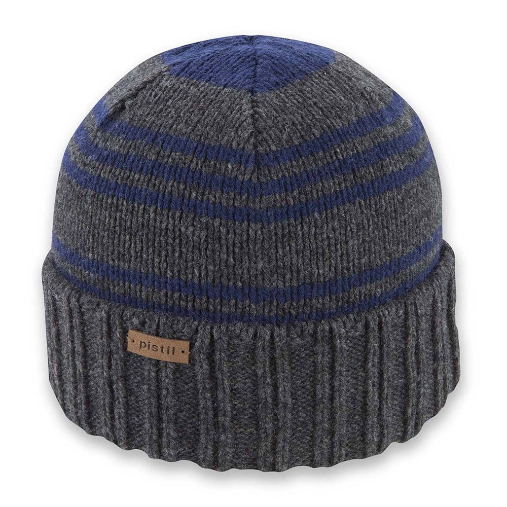 Men's Pistil Perch Knit Beanie with grey band and Blue stripes