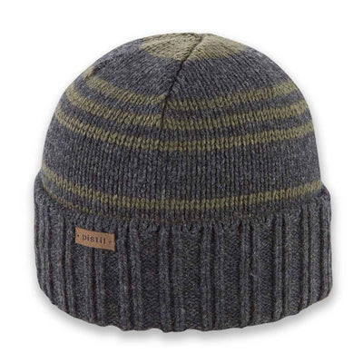 Men's Pistil Perch Knit Beanie with grey band and green stripes