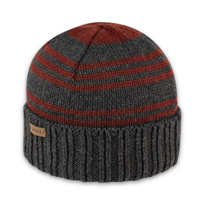 Men's Pistil Perch Knit Beanie with grey band and orange stripes