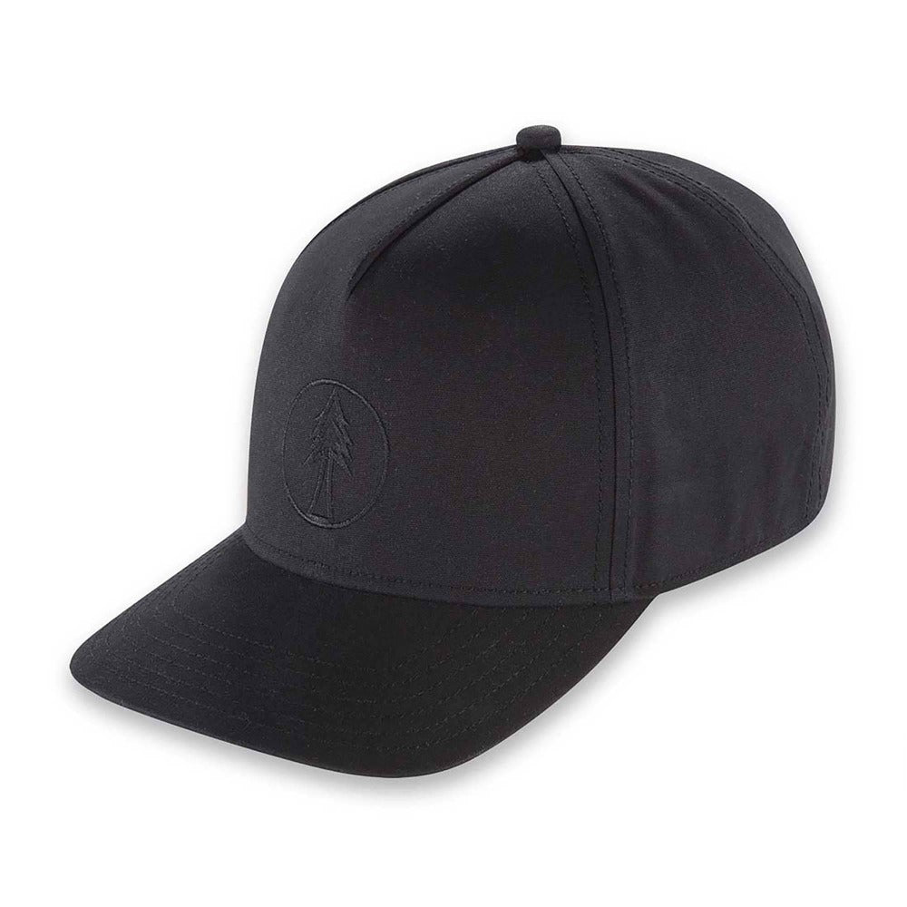 Men's Pistil Timber Trucker Cap with fir tree embroidered on front panel and adjustable closure in the back in Black