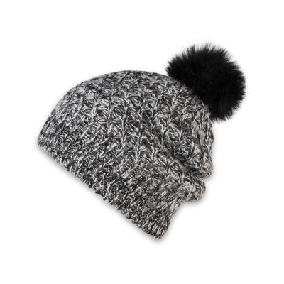 Women's Pistil Subi Chunky Knit Slouchy Beanie Black and White with Black Pom