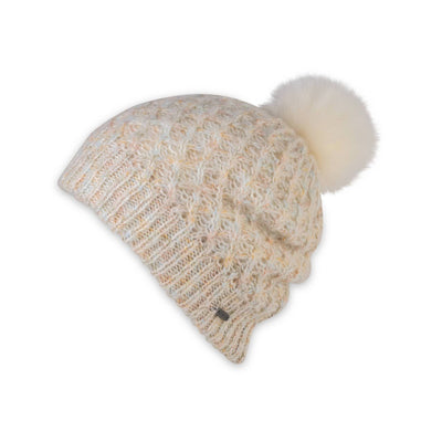 Women's Pistil Subi Chunky Knit Slouchy Beanie in Ivory with Pom