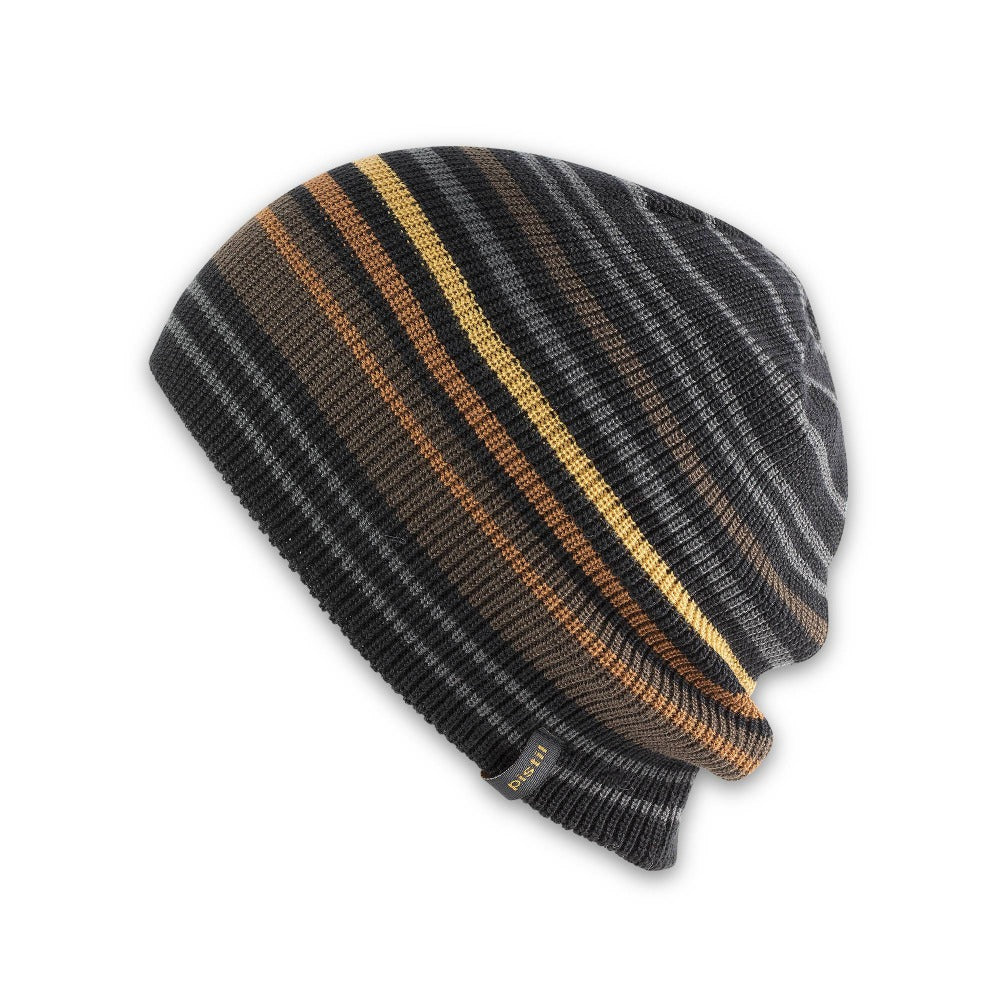 Men's Pistil Gordy Slouchy Knit Beanie with grey and black stripes with a few orange stripes