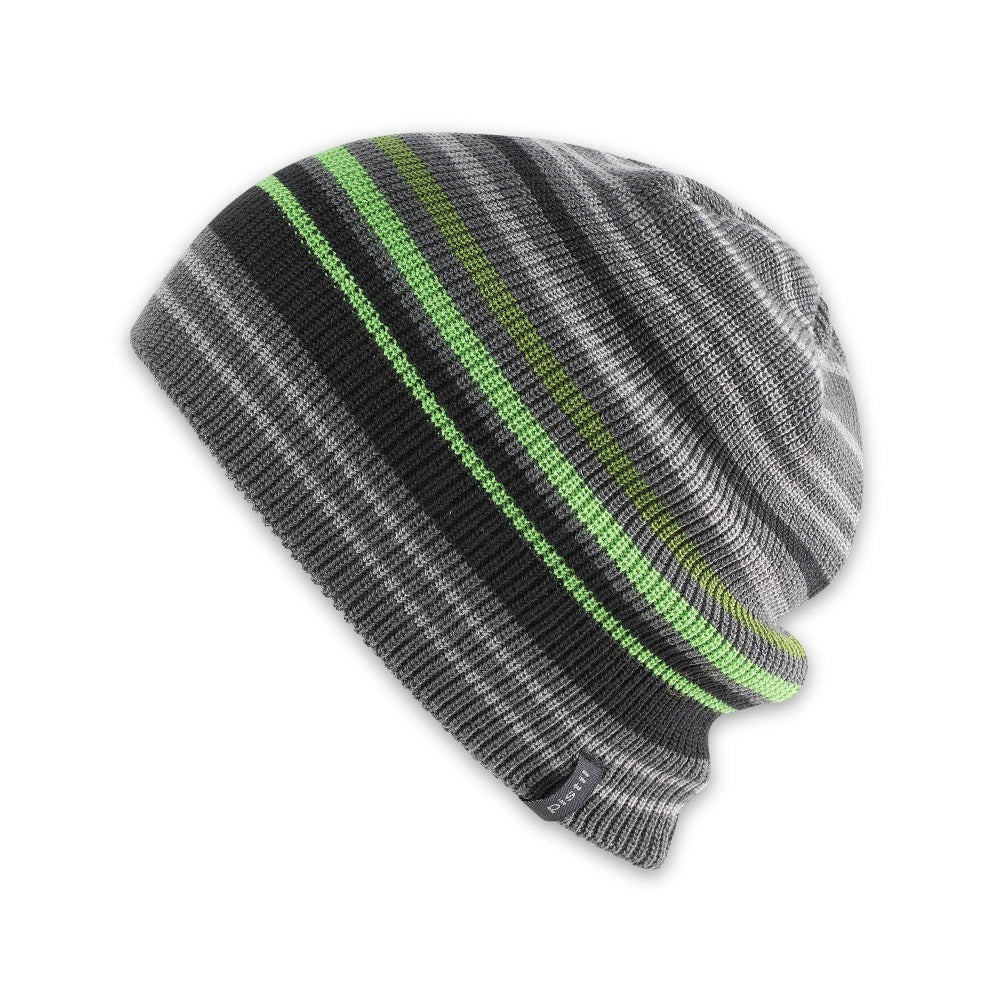 Men's Pistil Gordy Slouchy Knit Beanie with grey and black stripes with a few green stripes