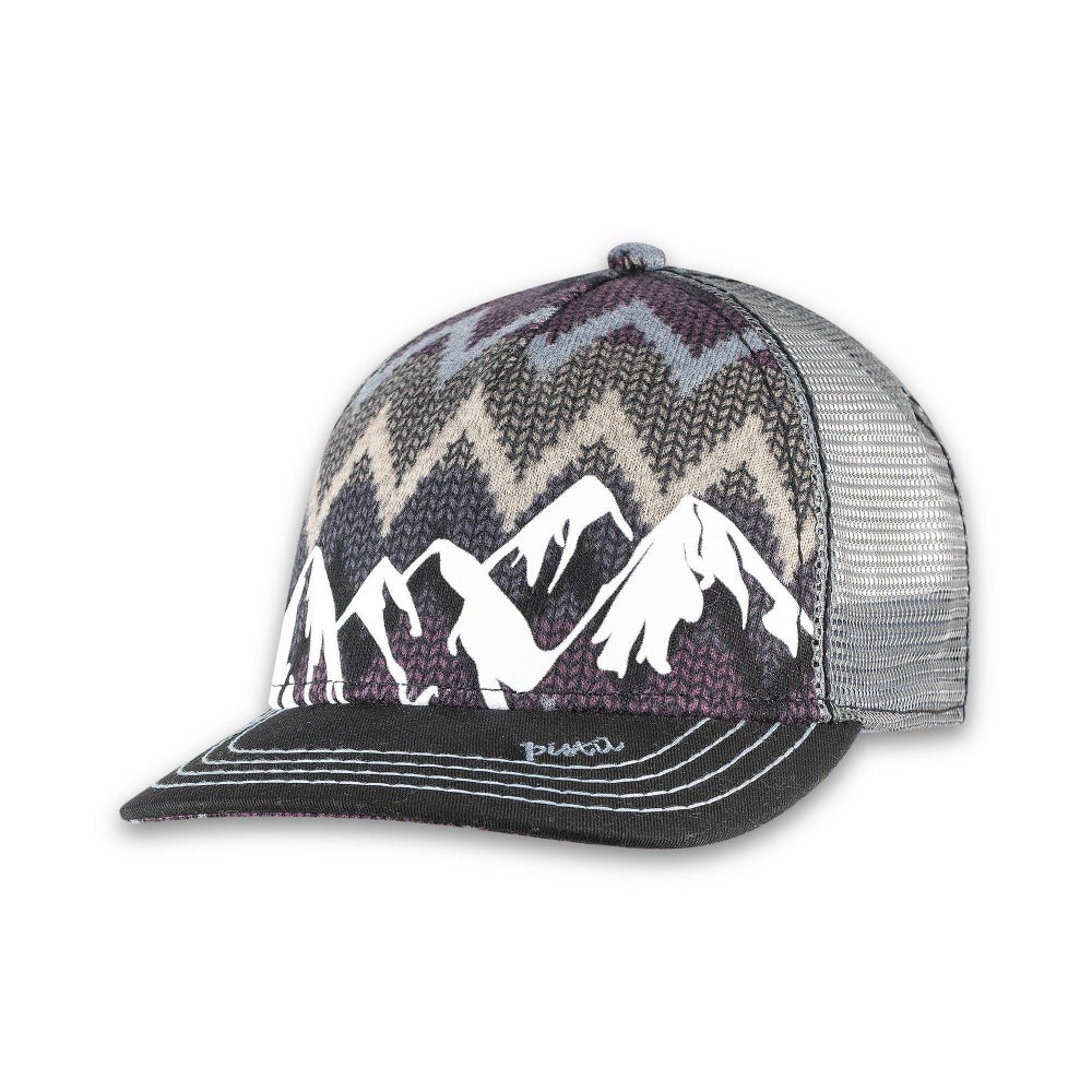 Women's Pistil Trucker Hat with a Colorful Mountain Scene adjustable closure and mesh back in black