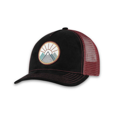 Women's Pistil Viva Trucker Hat with Mountain and Sun Embroidered on round patch, mesh back, adjustable closure in Black
