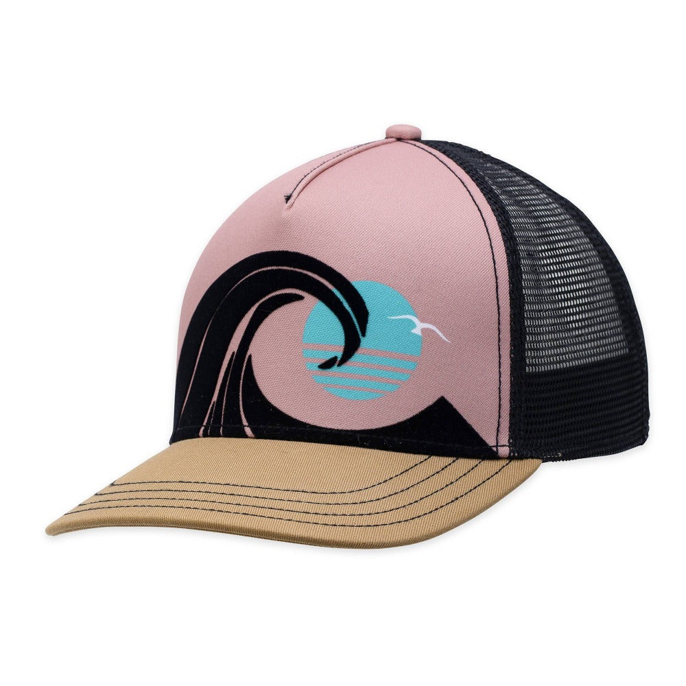 Women's Pistil Wedge Trucker Hat with colorful ocean wave on front panel in Black