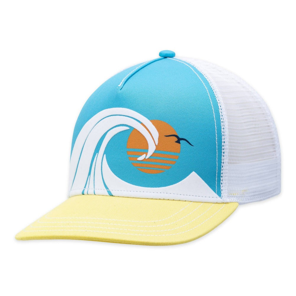 Women's Pistil Wedge Trucker Hat with colorful ocean wave on front panel in White
