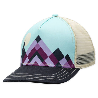 Women's Pistil Lunar Trucker Hat with purple mountain on blue background and black bill mesh back and adjustable closure