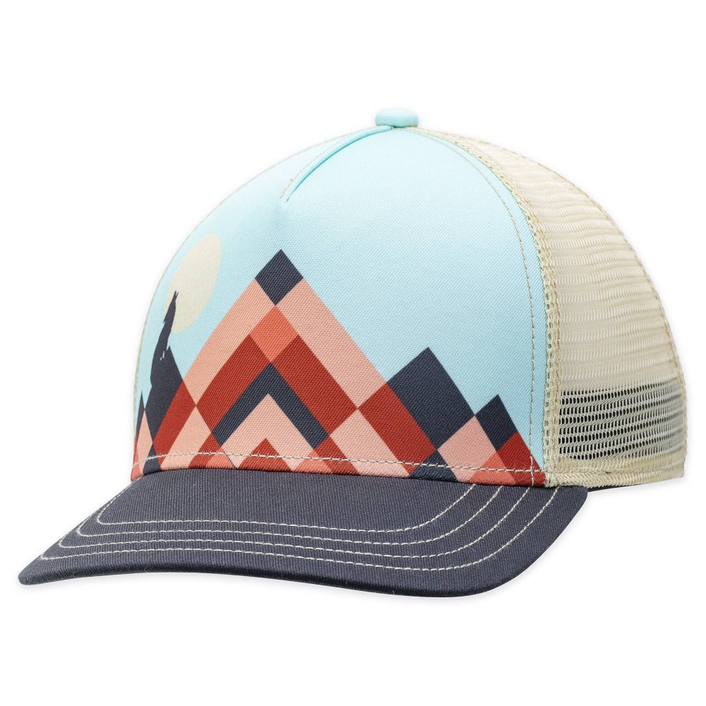 Women's Pistil Lunar Trucker Hat with orange mountain on blue background and grey bill mesh back and adjustable closure