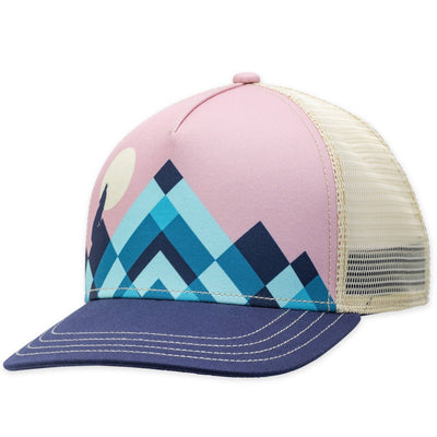 Women's Pistil Lunar Trucker Hat with blue mountain on pink background and navy bill mesh back and adjustable closure