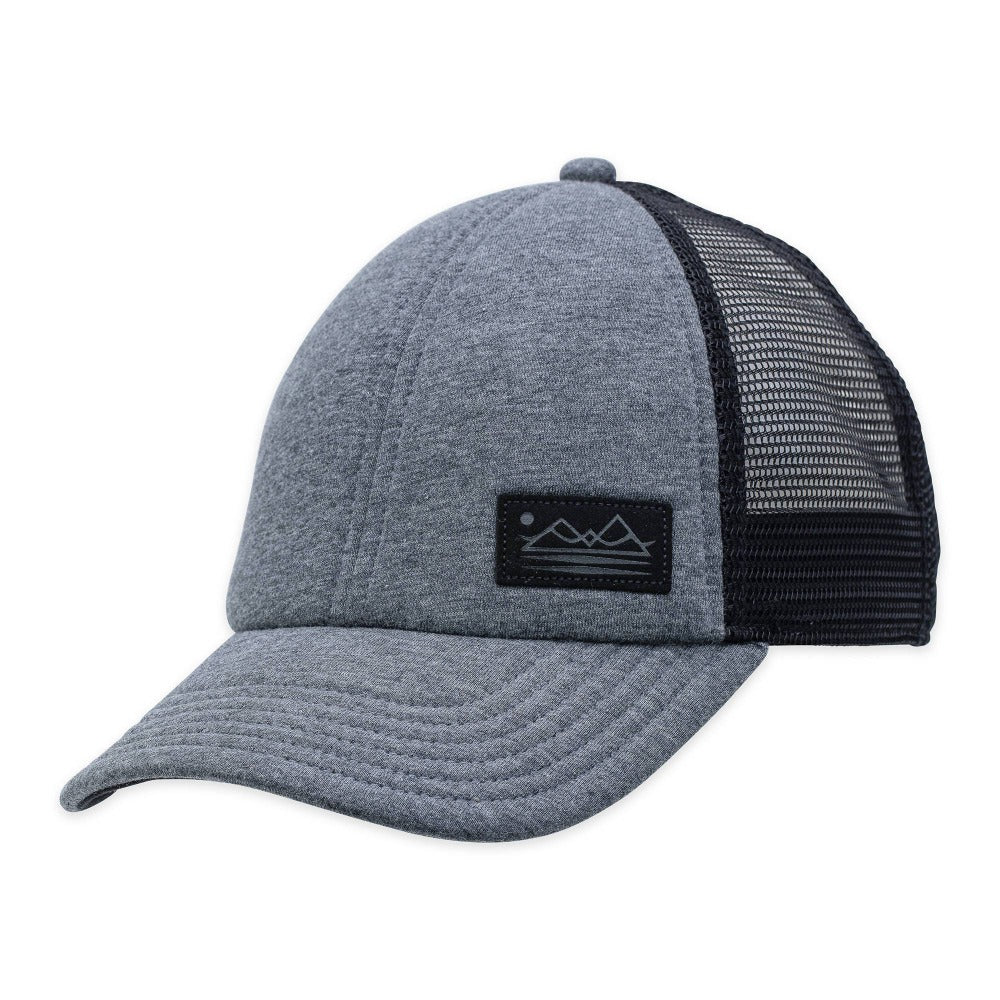 Men's Pistil Fisher Trucker Cap with faux suede mountain patch with mesh back and adjustable closure in Grey