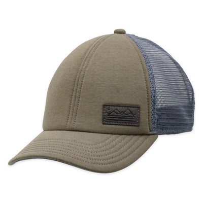 Men's Pistil Fisher Trucker Cap with faux suede mountain patch with mesh back and adjustable closure in Olive