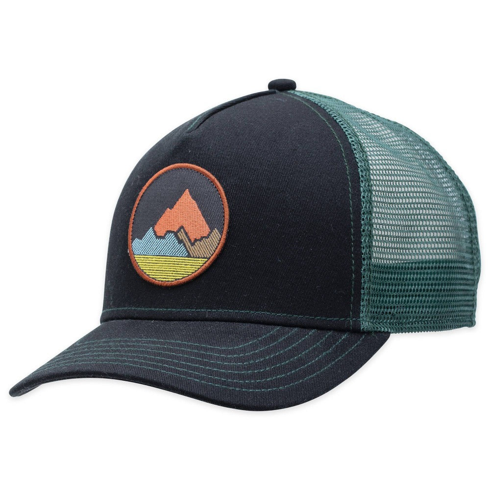 Men's Pistil Spike Trucker Cap with embroidered Mountain badge, mesh back, adjustable closure in Black