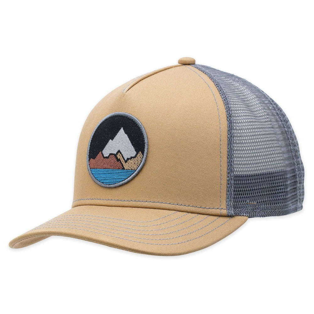 Men's Pistil Spike Trucker Cap with embroidered Mountain badge, mesh back, adjustable closure in Camel