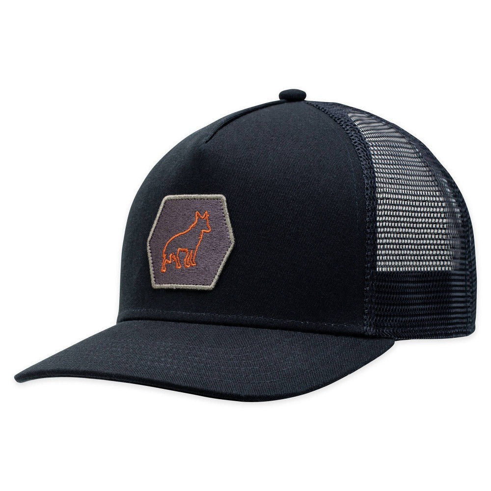 Men's Pistil Mascot Trucker Cap with embroidered fox badge, mesh back, adjustable closure in Black