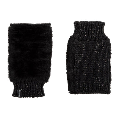 Women's Chenille Knit Fingerless Glove Cozies Pair in Black