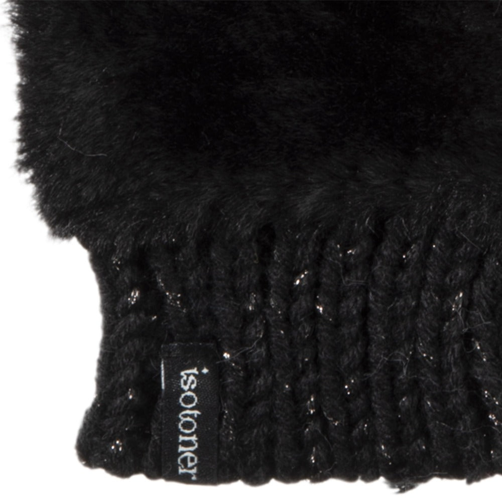 Women's Chenille Knit Fingerless Glove Cozie in Black close up of faux fur and cuff