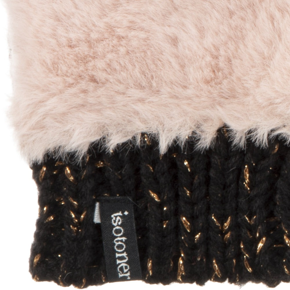 Women's Chenille Knit Fingerless Glove Cozie in Dusty Blush close up of faux fur and cuff