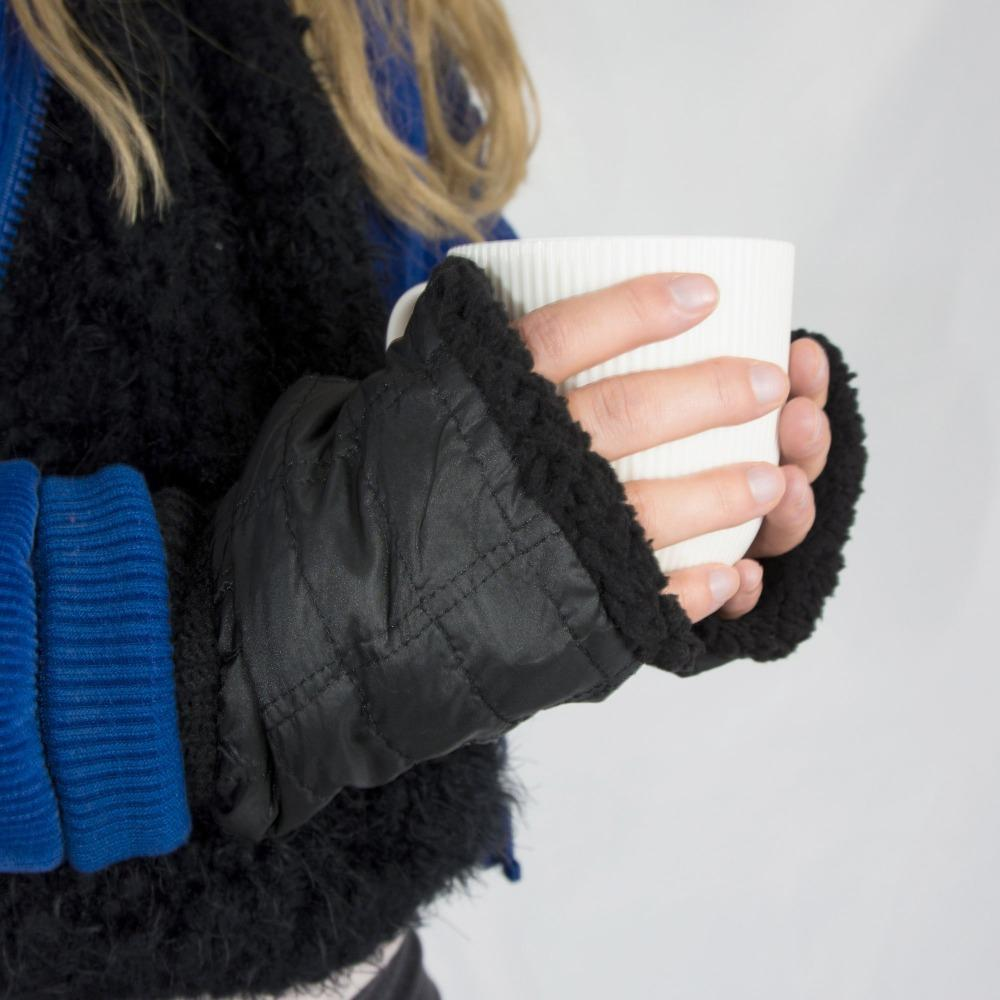 Women's Quilted Fingerless Glove Cozies in Black on Model