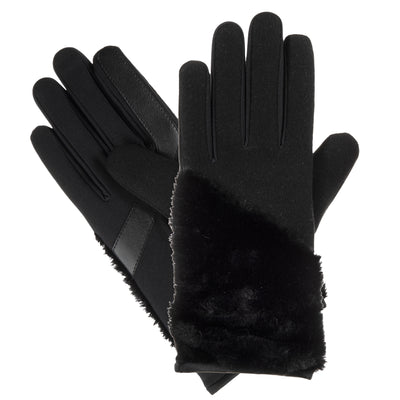 Isotoner Women's Faux Boiled Wool Gloves with Faux Fur