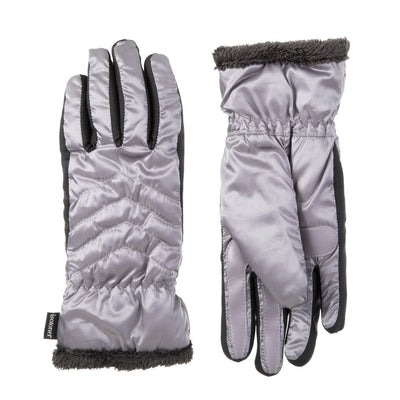 Women's Quilted Chevron Touchscreen Gloves in Dusty Lavender Front and Back