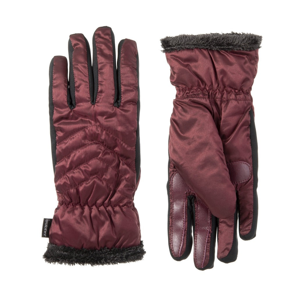Women's Quilted Chevron Touchscreen Gloves in Plum Front and Back