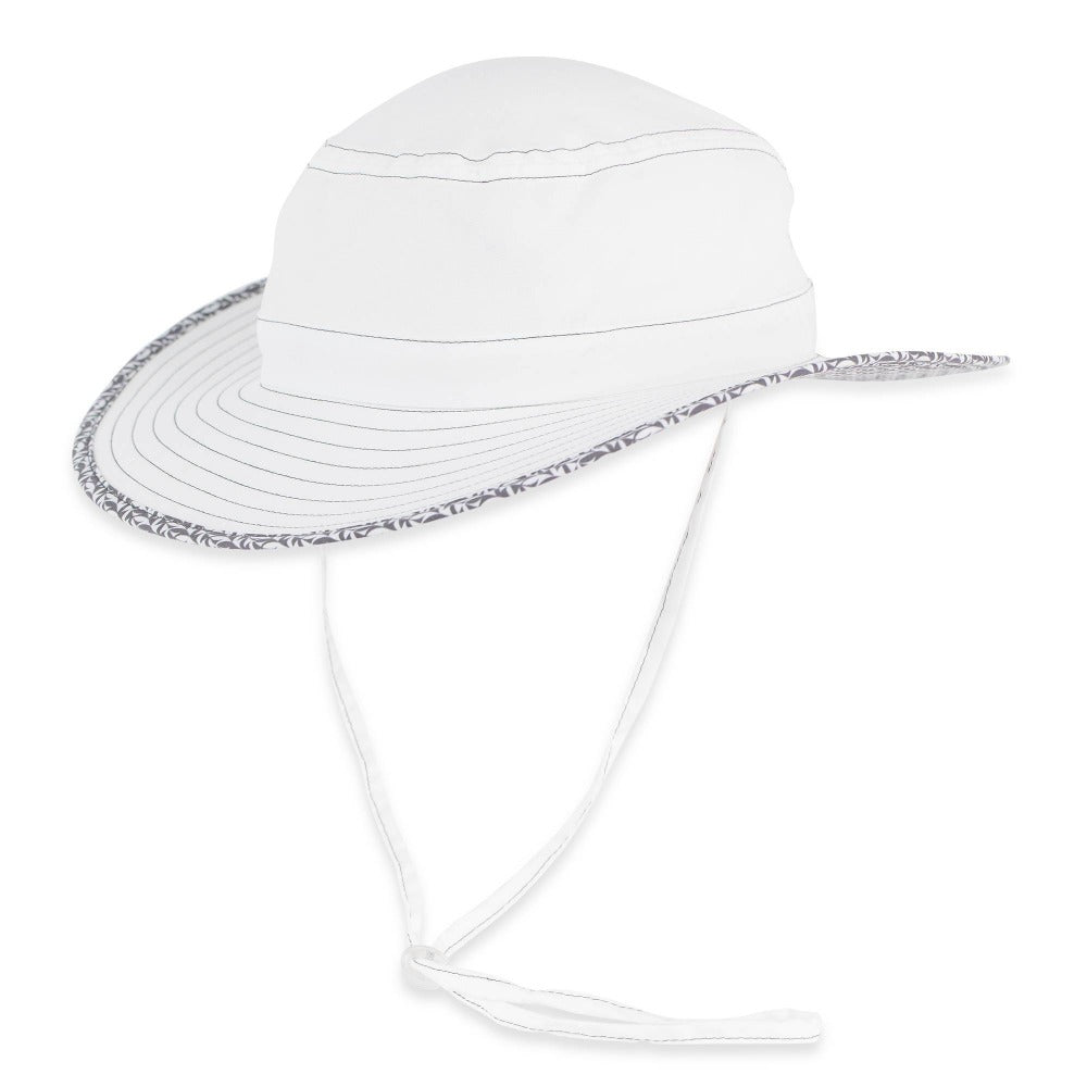 Women's Pistil Lotus Sun Hat with wide brim, pattern trim and adjustable chin cold in White