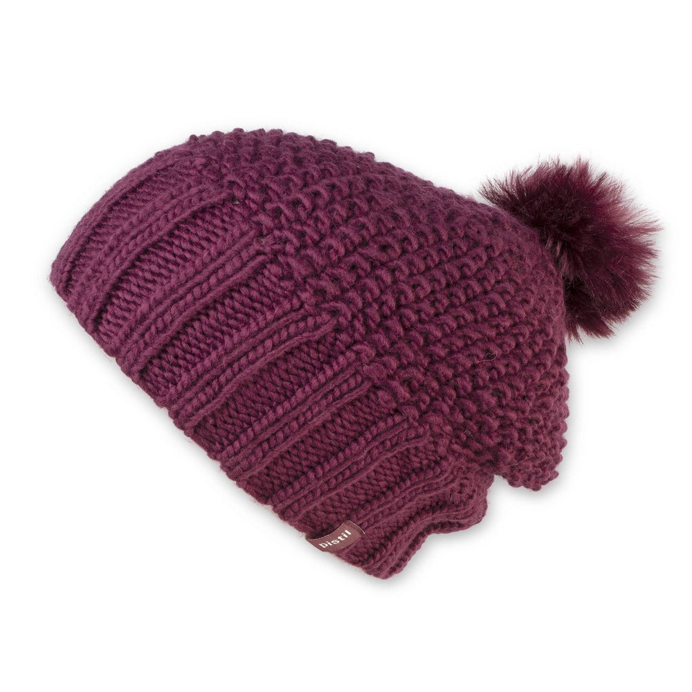 Women's Pistil Juliette Slouch Style Knit Beanie with Pom in Plum