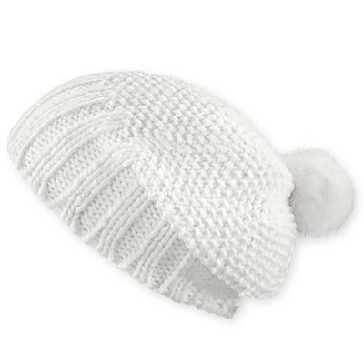 Women's Pistil Juliette Slouch Style Knit Beanie with Pom in White