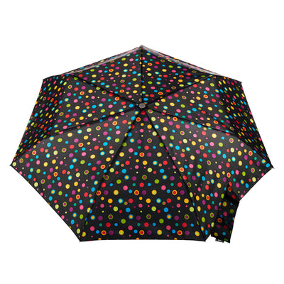 totes Auto Open Close Compact Neverwet Umbrella neon dots top open