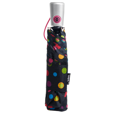 totes Auto Open Close Compact Neverwet Umbrella neon dots closed