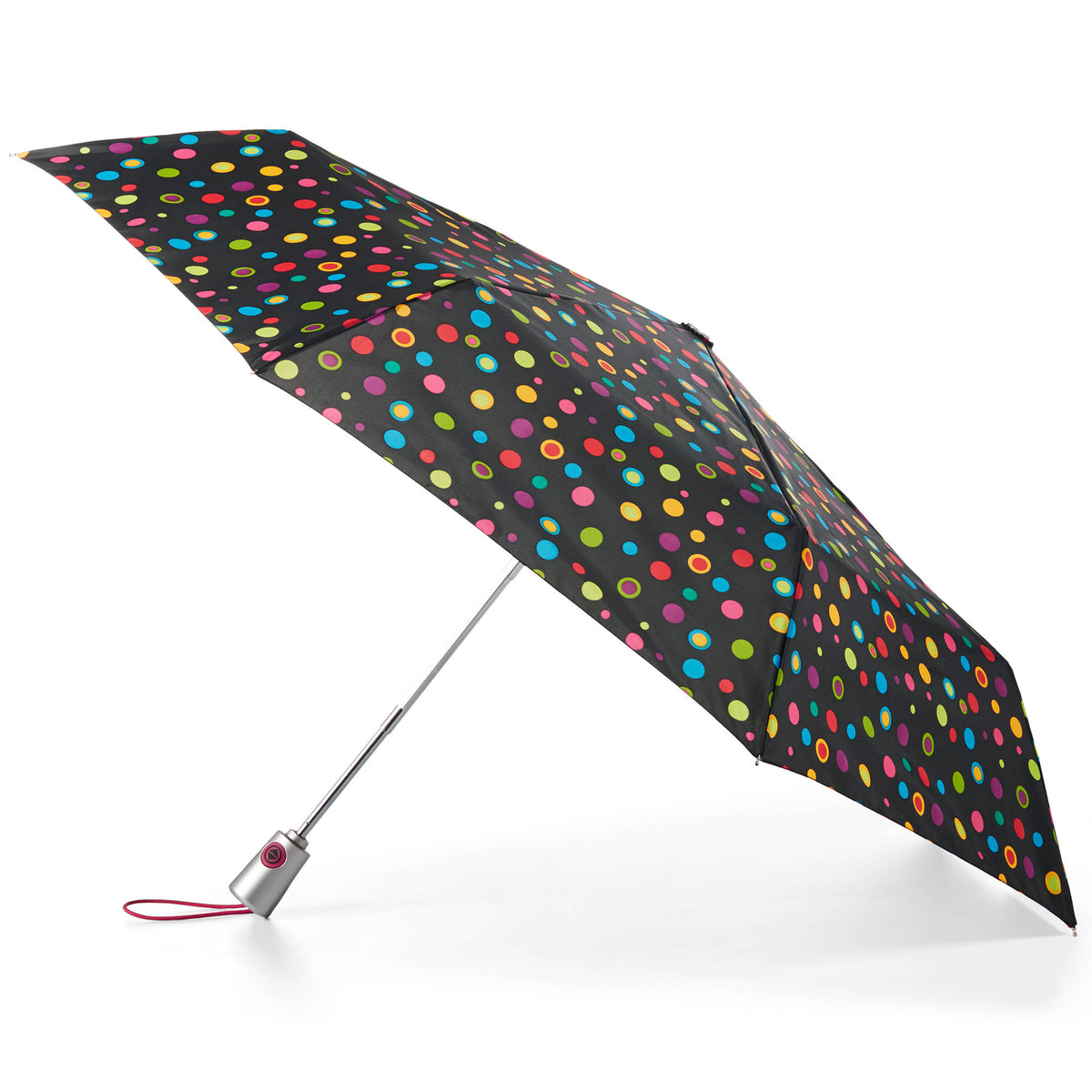 totes Auto Open Close Compact Neverwet Umbrella neon dots side view open