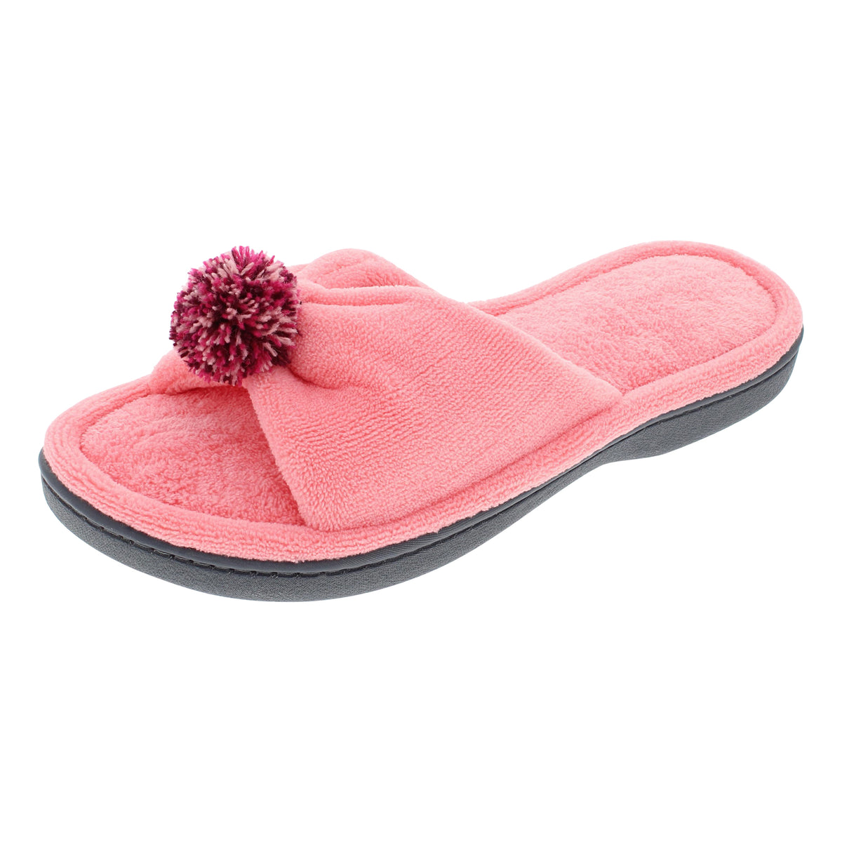 Isotoner Women's Microterry Penny Open-Toe Slide Slippers with Pom