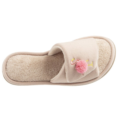 Women's Isabella Adjustable Slide Slippers in Sand Trap Top View