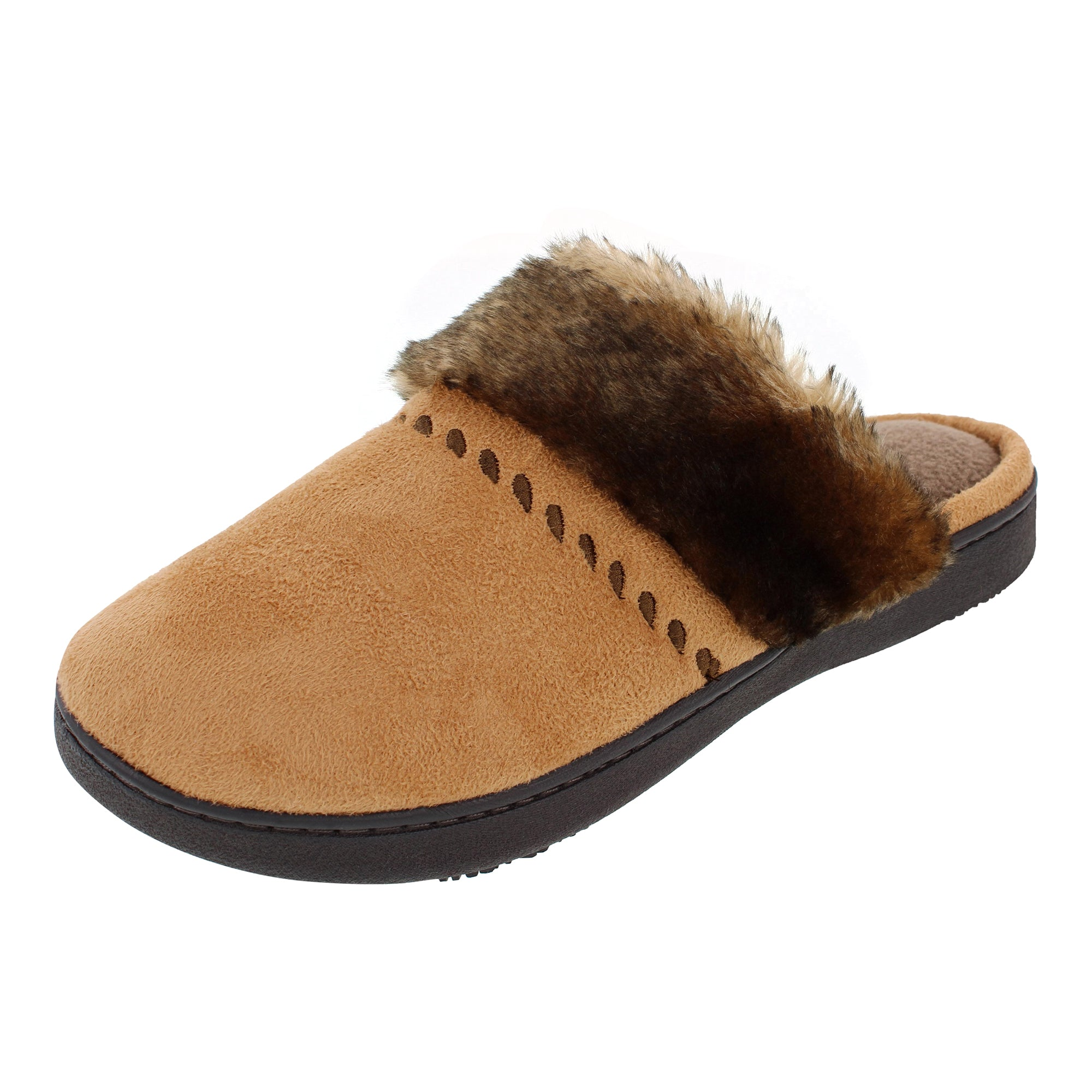 Isotoner Microsuede Clog with Faux fur cuff