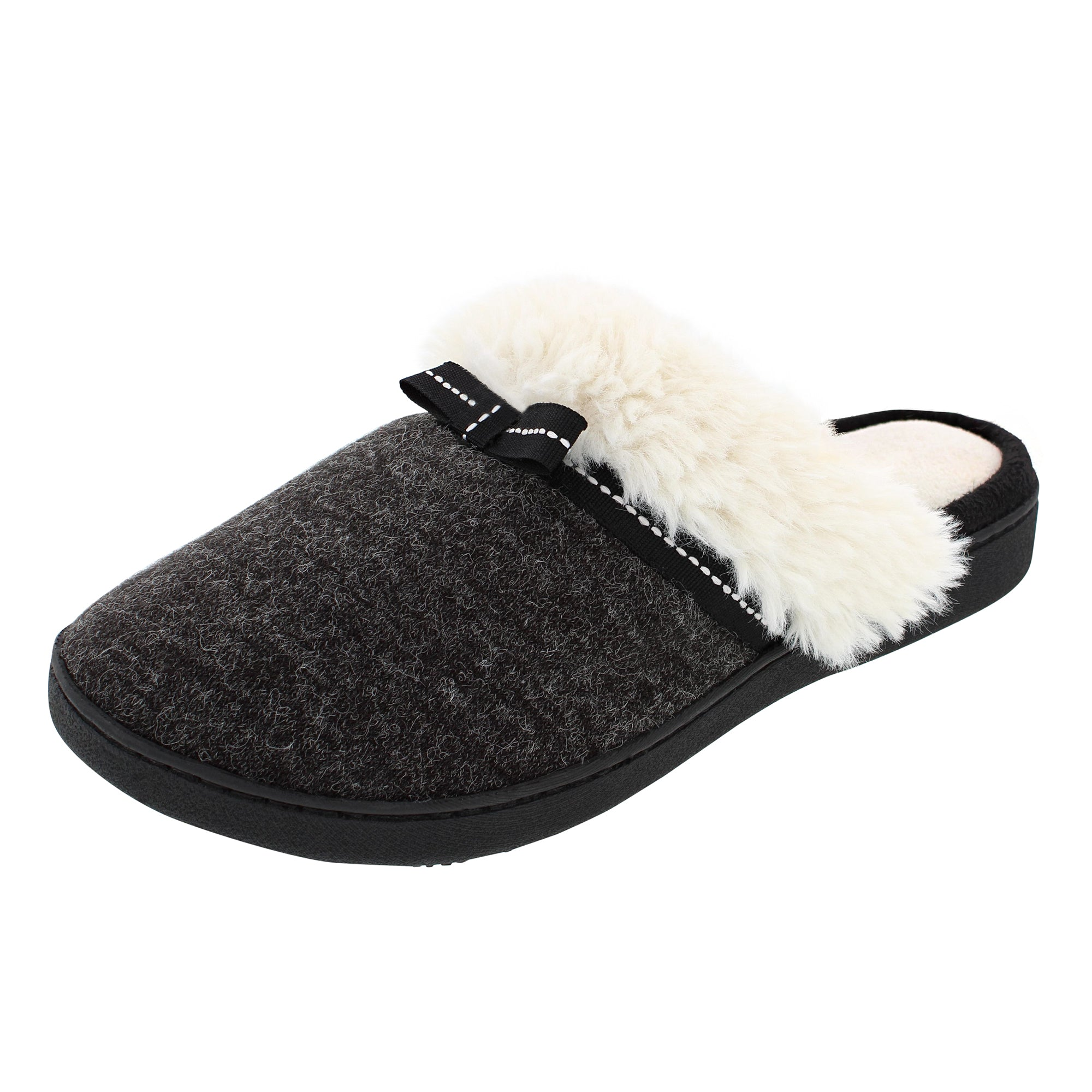 Isotoner Heathered Knit Clog with Soft Sherpa Cuff