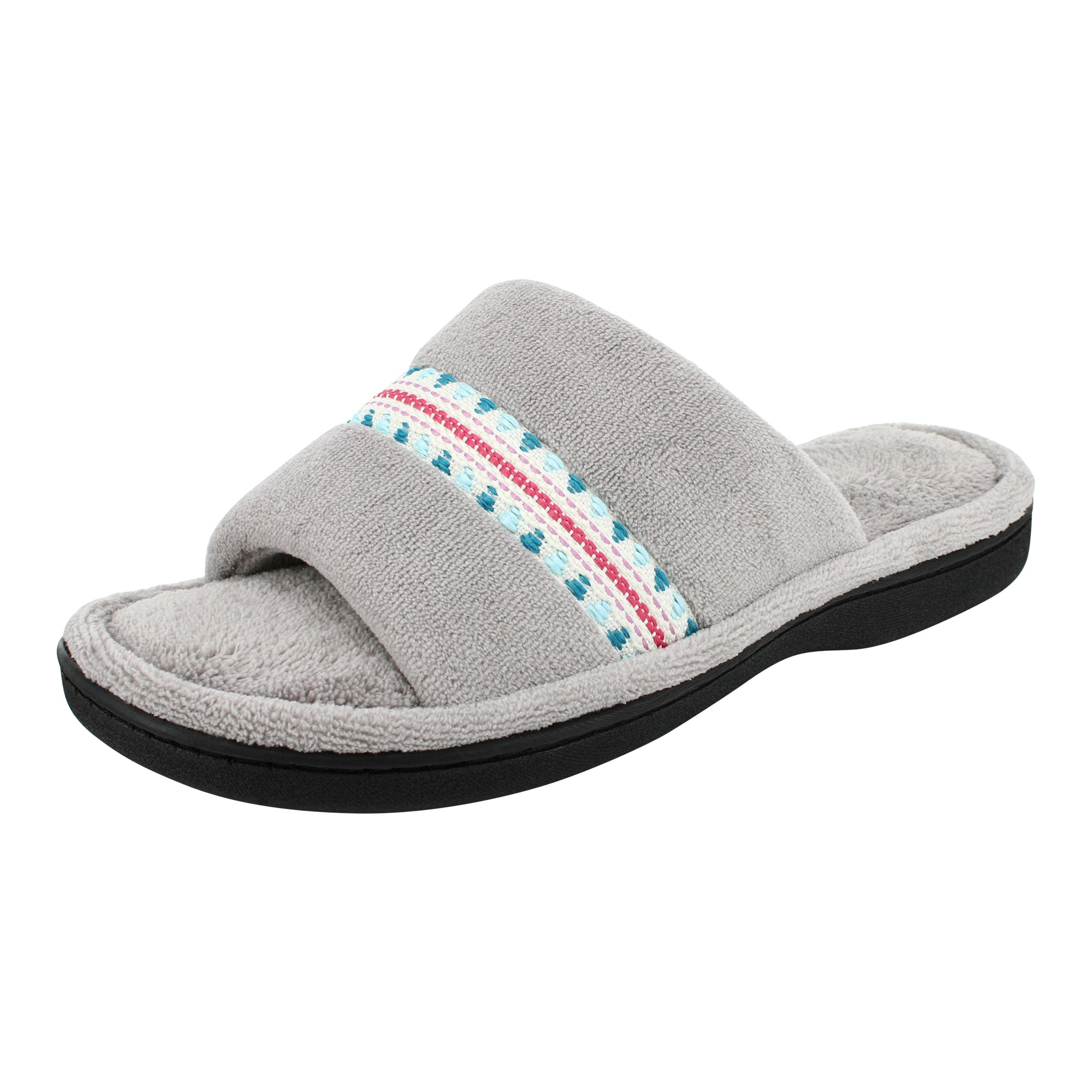 Isotoner MICRO-TERRY Open-Toe Slide 360° Surround Comfort™ Memory Foam