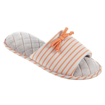 Women's Nani Stripe Slide Slippers in Stormy Grey Quarter View